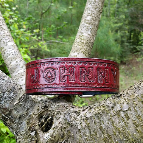 Personalized Genuine Leather Dog Collar with Diamond Cut Pattern & Celtic Font, Dog Collars - Behind The Wire Shop