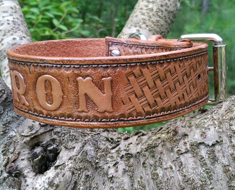 The Baron - Basket Weave Western Leather Dog Collar with Roller Buckle, Dog Collars - Behind The Wire Shop