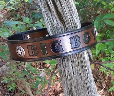 Heavy Duty Big Boy Texas Ranger Star Leather Dog Collar Black & Brown - By Behind The Wire Shop