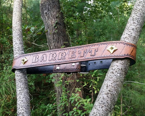 The Barrett - Personalized Name Plate Leather Dog Collar, Dog Collars - Behind The Wire Shop