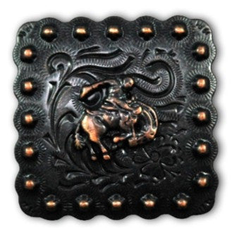 Beaded Bronc Rider Square Western Conchos