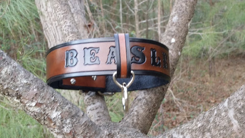 The Beasley - Custom Heavy Duty Black & Brown Leather Dog Collar with Adjustable Fail Safe, Dog Collars - Behind The Wire Shop