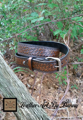 Brown Basketweave Leather Belt