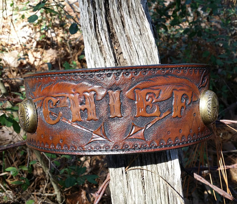 CHIEF - Custom Southwestern Style Leather Dog Collar with Sunburst Conchos and Hand Tooled Feathers-Padded Lined Soft