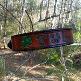 Classic Celtic Leather Dog Collar with 3 Leaf Clover