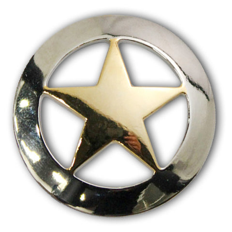 "2903SB-M41 1 1/2"" Silver & Gold Texas Ranger Star Screw Back Concho, Conchos - Behind The Wire Shop"