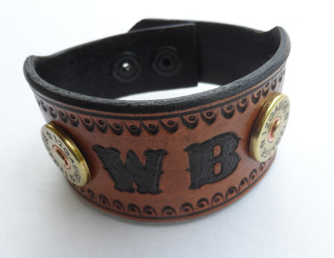 Cowboy Western Leather Cuff with Shot Gun Shells, Bracelets & Rings - Behind The Wire Shop