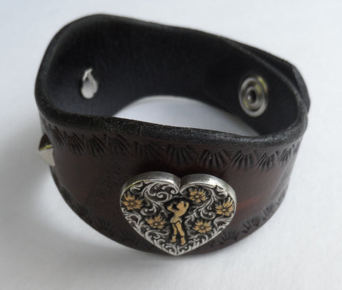 Custom Western Leather Bracelet with Cow Girl Heart Conchos & Pyramid Studs, Bracelets & Rings - Behind The Wire Shop