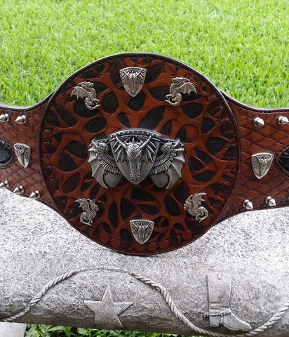 Genuine Snake Skin Leather Wrestling Belt  with Hand Tooled Web Design, Dragon Conchos, & Metal Spikes, belt - Behind The Wire Shop