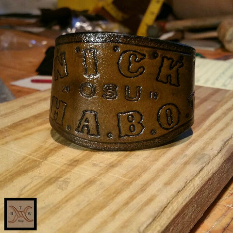 Men's Leather Personalized Graduation Cuff
