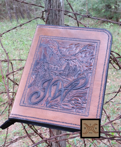 Personalized Custom Leather Portfolio / Padfolio with Eagle, Special Projects - Behind The Wire Shop