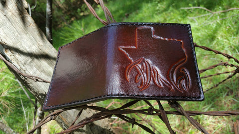 Handtooled Mahogany Texas Flames Bi Fold Wallet hnad crafted in Texas