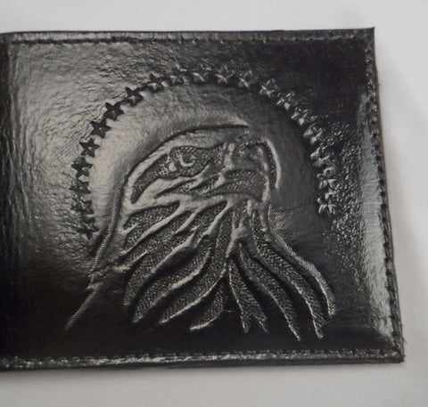 Custom Made Personalized Eagle Marines Military Bi Fold Leather Wallet