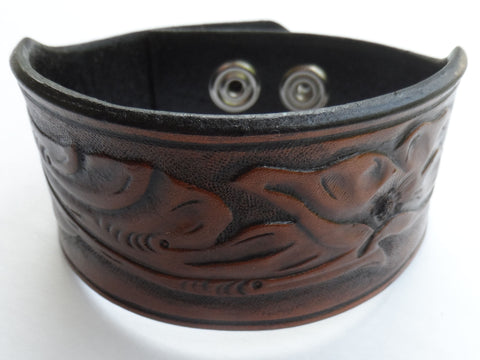Ladies Sheridan Style Floral Hand Tooled Leather Bracelet - Adjustable, Bracelets & Rings - Behind The Wire Shop