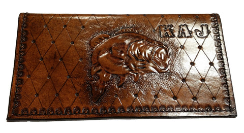 Custom Made Hand Tooled Bass Fish Check Book Cover