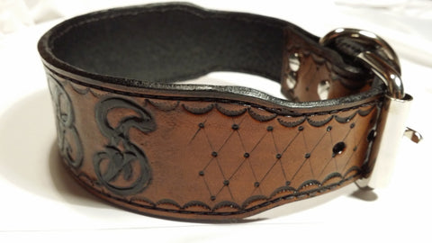 The Geebs - Brown Name Plate DIamond Cut Leather Dog Collar, Dog Collars - Behind The Wire Shop