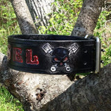 Black Red & Silver Hand Tooled Skull & Guns Personalized Leather Dog Collar, Dog Collars - Behind The Wire Shop