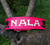 Pink, Black, & White - Skulls & Bones Personalized Hand Tooled Leather Dog Collar, Dog Collars - Behind The Wire Shop