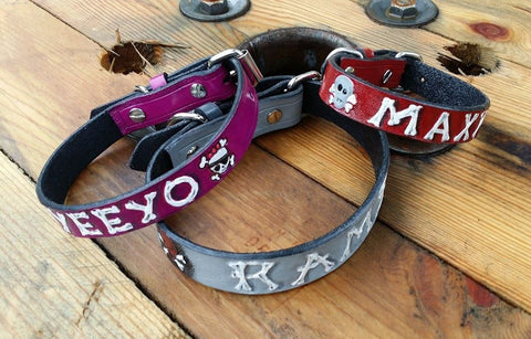 "3/4"" Custom Hand Tooled Leather Dog Collars - Skeletons & Bones, Dog Collars - Behind The Wire Shop"