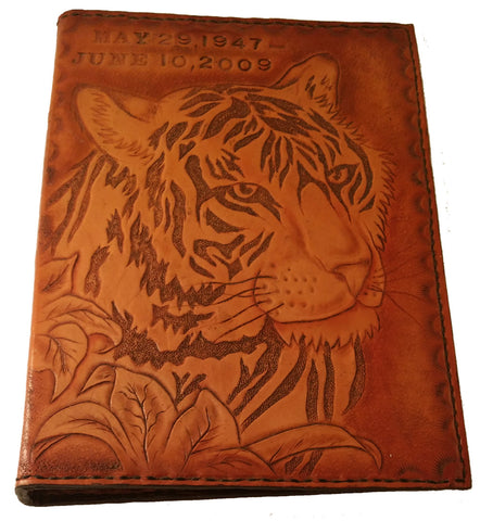 Personalized Hand Tooled Tiger Leather Memory Book Album, Special Projects - Behind The Wire Shop