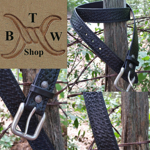 Black Basketweave Leather Belt