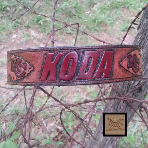 The Koda - Sports Team Hand Tooled Dog Collar with Matching Leash, Dog Collars - Behind The Wire Shop