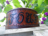 The Stout - Brown Name Plate Diamond Cut Leather Dog Collar With Spikes, Dog Collars - Behind The Wire Shop