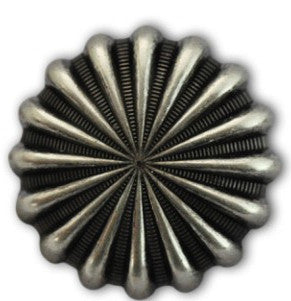 "2403SB-P15 1 3/4"" Antique Nickel Parachute Screw Back Concho, Conchos - Behind The Wire Shop"