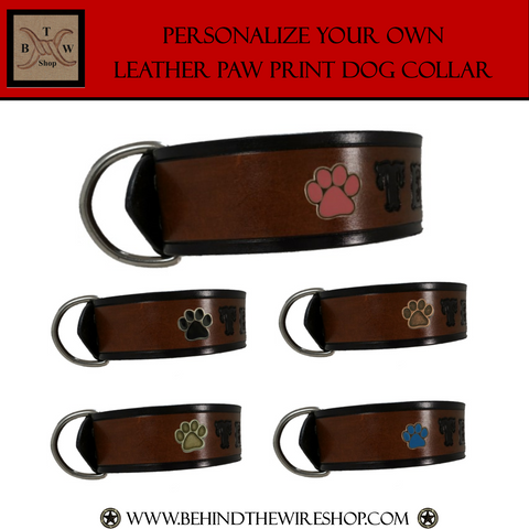 Paw Print Leather Dog Collar - Your Choice of Paw