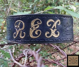 The Rex - Blue Name Plate Leather Dog Collar with Hand Tooled Crowns, Dog Collars - Behind The Wire Shop