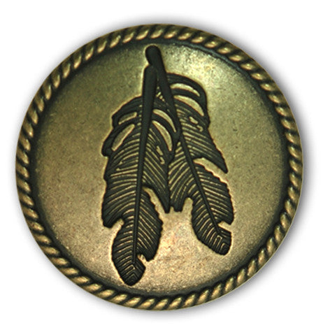 Rope Edge Concho with two embossed feathers in the center of it