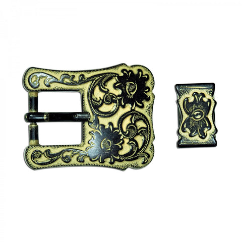 "3442-B40 3/4"" Rustic Gold Traditional 2 Piece End Bar Buckle, Buckles - Behind The Wire Shop"