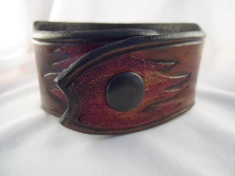 Men's Try Me Bullet Leather Cuff with Flames