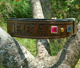 The Sheba - Personalized Rhinestone Leather Dog Collar,  - Behind The Wire Shop
