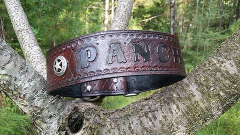 The Pancho - Personalized Texas Star Camo Diamond Cut Leather Dog Collar, Dog Collars - Behind The Wire Shop