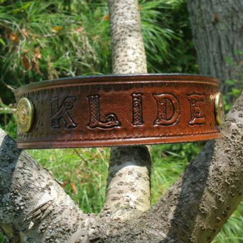 The Klide - Personalized Basket Weave Shot Gun Shell Leather Dog Collar, Dog Collars - Behind The Wire Shop