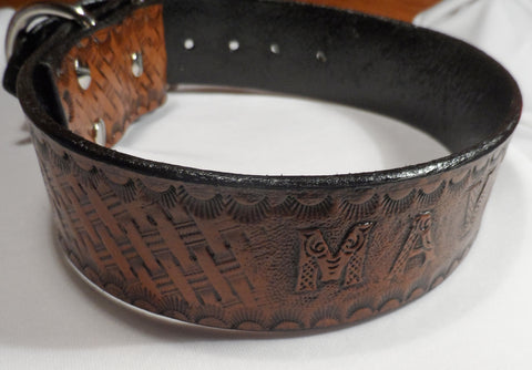 Personalized Western Basket Weave Leather Dog Collar with Roller Buckle