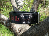 The Diesel - Skull & Motorcycle Engine Custom Leather Dog Collar - Hand Tooled, Dog Collars - Behind The Wire Shop