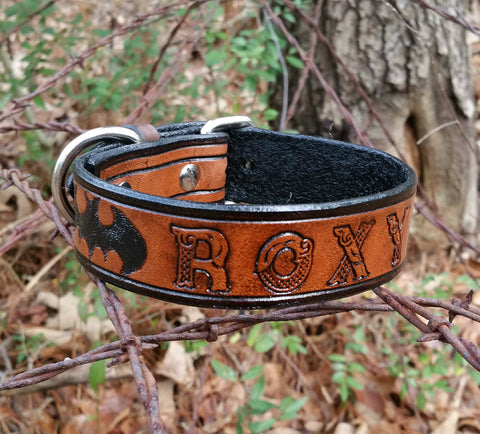 Roxy Custom Made Batman Leather Dog Collar
