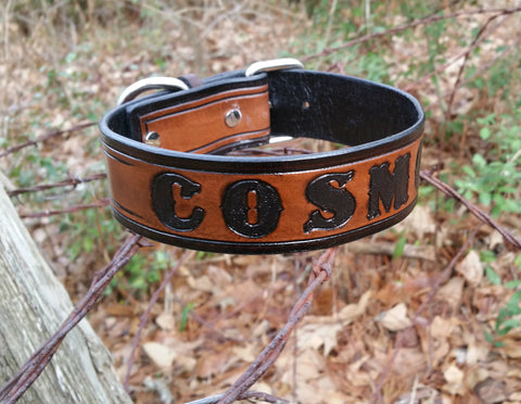 The Cosmo - Personalized Double Classic Leather Dog Collar, Dog Collars - Behind The Wire Shop