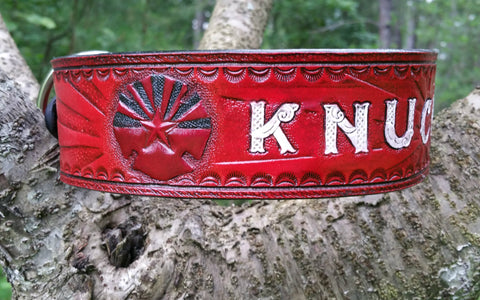 The Knuckie -  Arizona Sunrise Firefighter Red - Custom Leather Dog Collar
