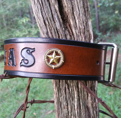 "BUILD YOUR OWN - Personalized 1 1/4"" Barb Wire Texas Ranger Star Leather Dog Collar"