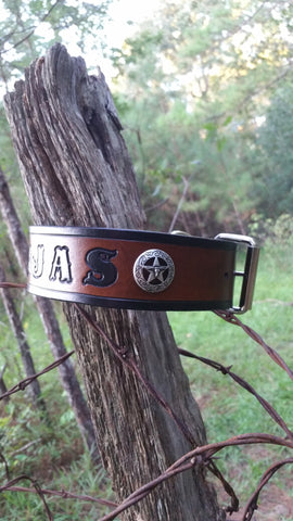 The Tejas - Personalized Classic Star Texas Silver Longhorn Leather Dog Collar, Dog Collars - Behind The Wire Shop