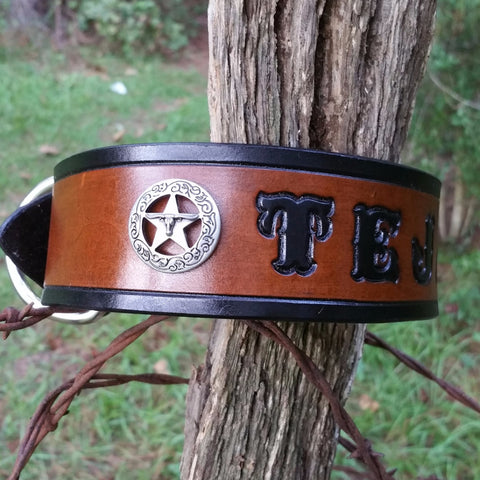 Personalized Classic Texas Ranger Star Leather Dog Collar with Long Horn Steer