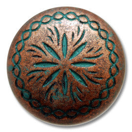 "2603SB-M40 1 1/2"" Copper Patina Sunburst Screw Back Concho, Conchos - Behind The Wire Shop"