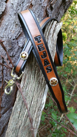 "3/4"" Silver & Gold Texas Ranger Star Leash with Name 4 Ft & 6 Ft, Leashes - Behind The Wire Shop"