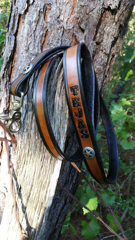 "3/4""  Old Silver Texas Ranger Star Leash with Name 4 Ft & 6 Ft, Leashes - Behind The Wire Shop"