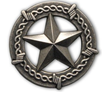 Texas Ranger Star Concho with a barb wire border in an antique nickel finish.
