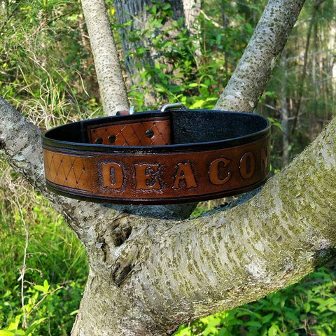 The Deacon - Diamond Cut Personalized Black & Brown Leather Dog Collar, Dog Collars - Behind The Wire Shop