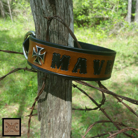 The Maverick - Personalized Classic Maltese Cross Leather Dog Collar, Dog Collars - Behind The Wire Shop